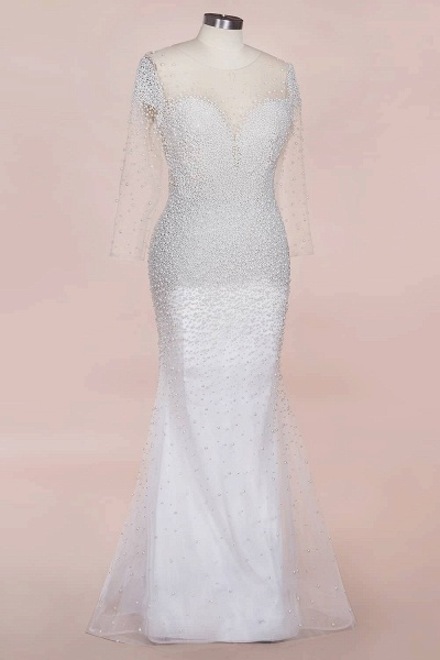 Precious Long Sleeve Beading Sheath Wedding Dress_9