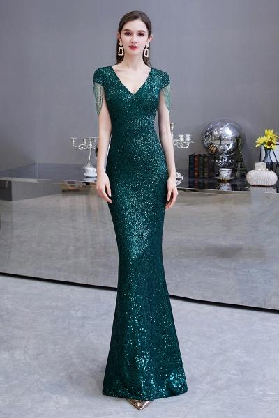 Elegant Cap Sleeve Green Sequins Long Prom Dress_2