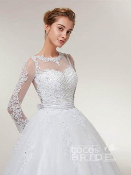 Elegant Long Sleeves Lace Detachable Train Ball Gown Wedding Dresses_5