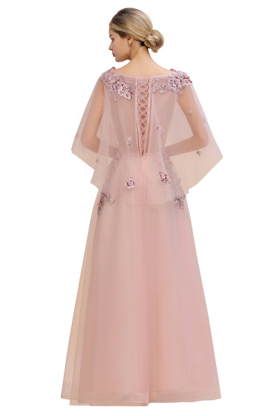 Dusty Pink Tulle Short Sleeve Long Prom Dress_10