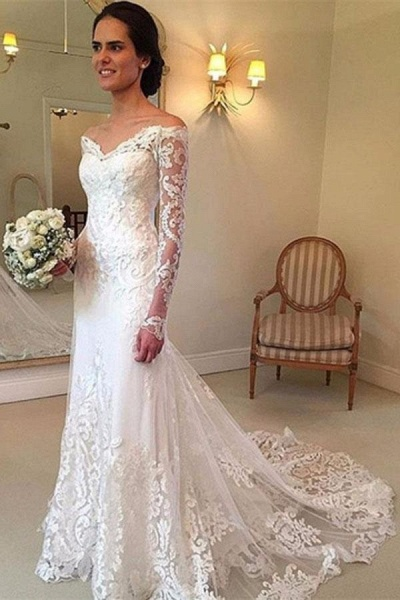 White Long Sleeves Off the Shoulder Mermaid Lace Beach Sexy Wedding Dress_1