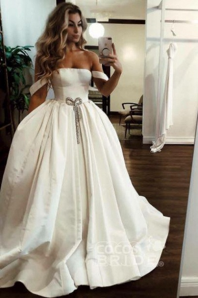 Puffy Off the Shoulder Satin Long with Pockets Simple Wedding Dress_2