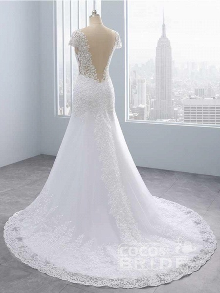 Cap Sleeves Lace Mermaid Tulle Wedding Dresses_4