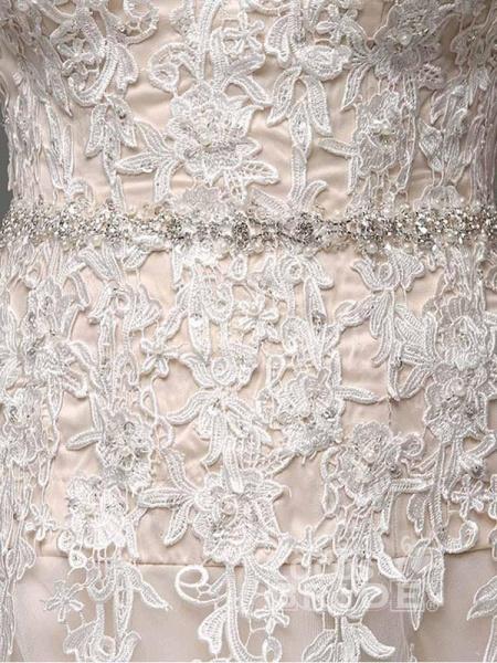 Elegant Sweetheart Beaded Lace Tulle Wedding Dresses_5