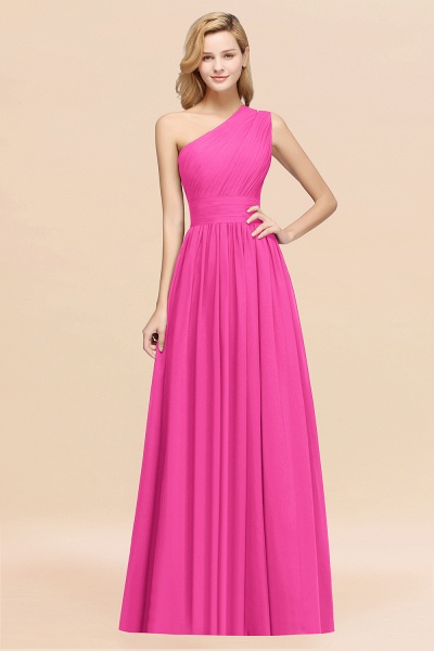 Elegant A-Line Burgundy Chiffon One-Shoulder Sleeveless Ruffles Floor-Length Bridesmaid Dresses_9