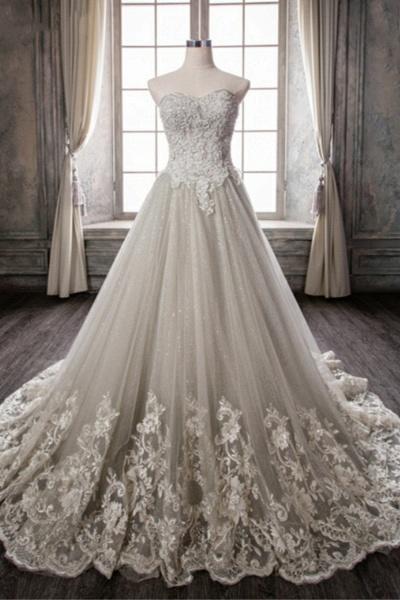 New Gray Tulle Sweep Train Wedding Dress_1