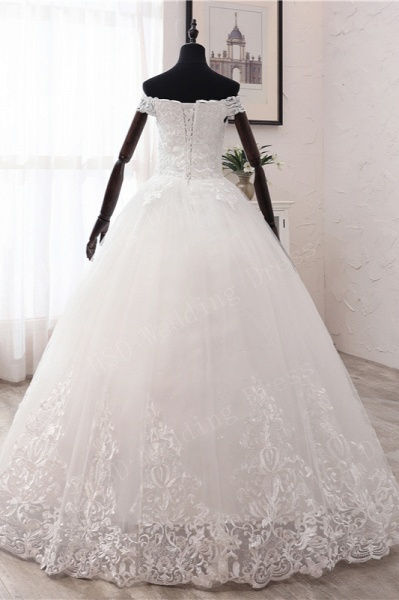 Long Ball Gown Off-the-shoulder Tulle Wedding Dress with Lace Appliques_3
