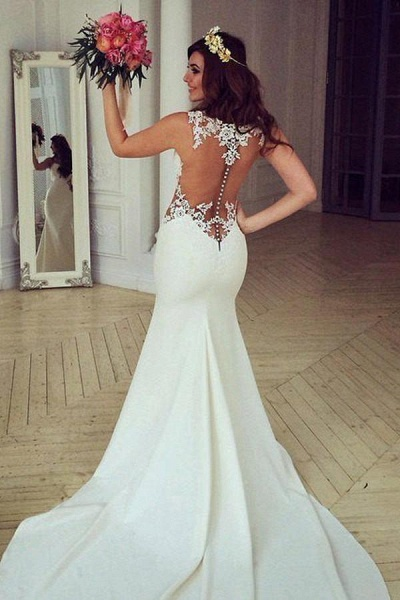 Stunning Pretty Mermaid Sleeveless Lace Appliques Wedding Dress_1