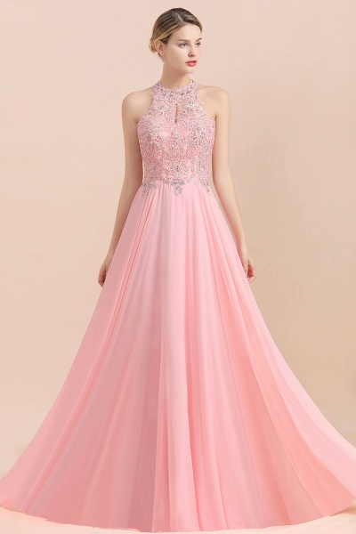 Pears Crystal A Line Halter Wedding Dresses Lace Wedding Gowns_2