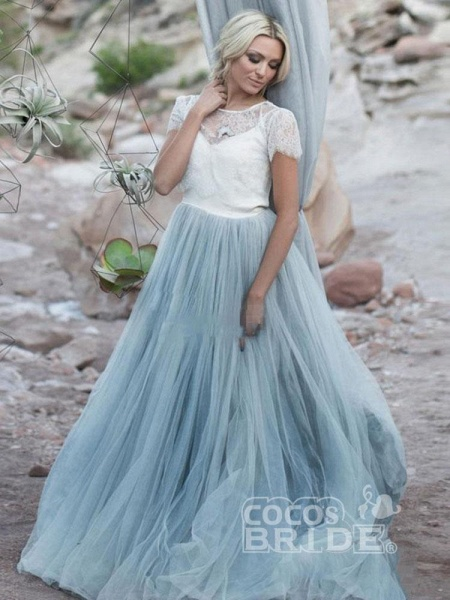Romantic Short Sleeves Sweep Train Tulle Wedding Dresses_2