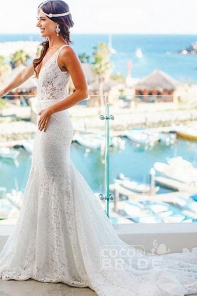 Romantic Deep V Neck Sleeveless Lace Mermaid Wedding Dress_2