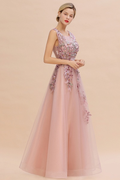 Gorgeous Dusty Pink Tulle Long Lace Appliques Prom Dress_3