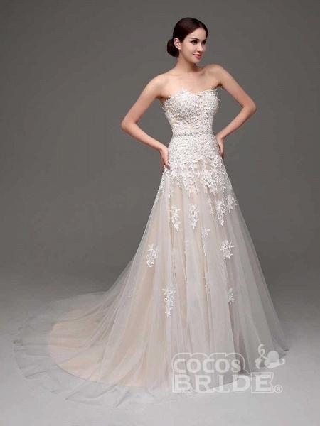 Gorgeous Swetheart Sleeveless Tulle Wedding Dresses_3