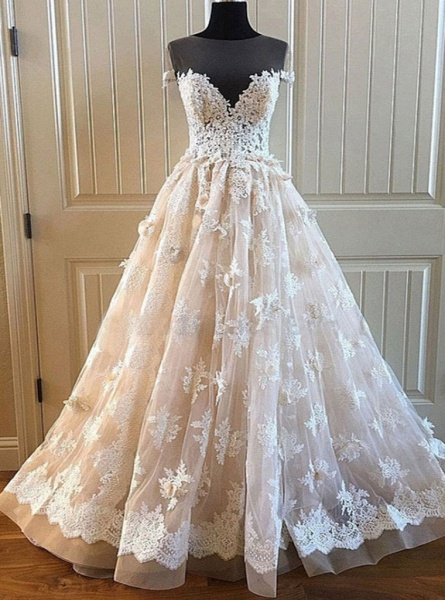 Creamy Lace Sweetheart Long A Line Long Wedding Dress_2