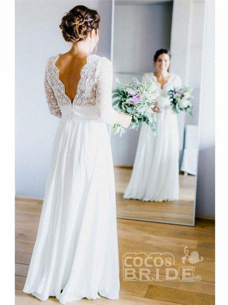Romantic V Neck Chiffon Lace A Line Wedding Dresses_2