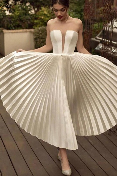 Ankle Length Strapless Ivory Pleats Beach Wedding Dress_1