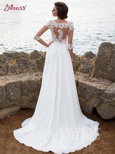 Half Sleeve Lace Appliques Wedding Dresses_2