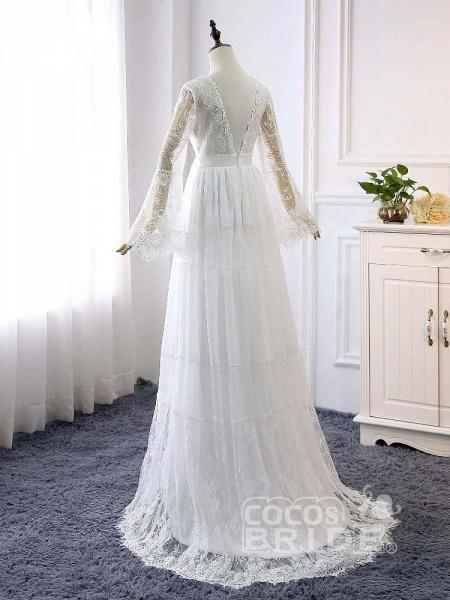 Elegant Long Sleeves V-Neck Tulle Wedding Dresses_2