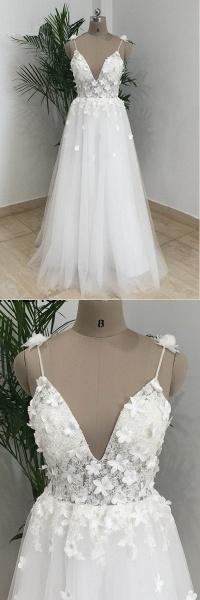 Simple White Tulle V Neck Beach Wedding Dress_4