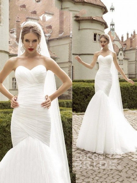 Sweetheart Tulle Ruched Mermaid Wedding Dresses_3