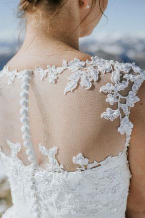 Illusion Appliques Sleeveless Tea Length Wedding Dress_2