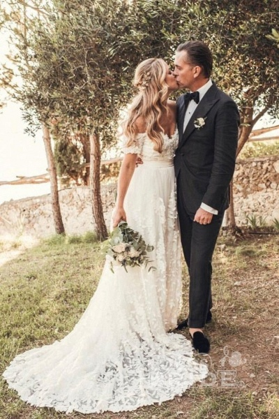 A Line Off the Shoulder Lace Short Sleeve Backless Long Beach Wedding Dress_3