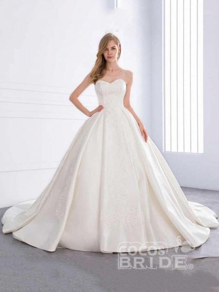 Sweetheart Ball Gown Ruffles Wedding Dresses_2
