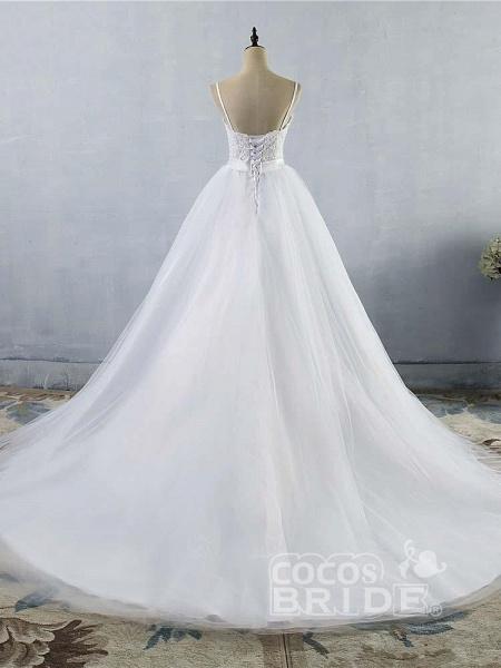 Elegant Spaghetti-Strap Lace Sashes Tulle Wedding Dresses_2