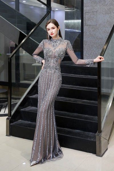 Long Sleeve Mermaid Sequins High-Neck Evening Gowns_4