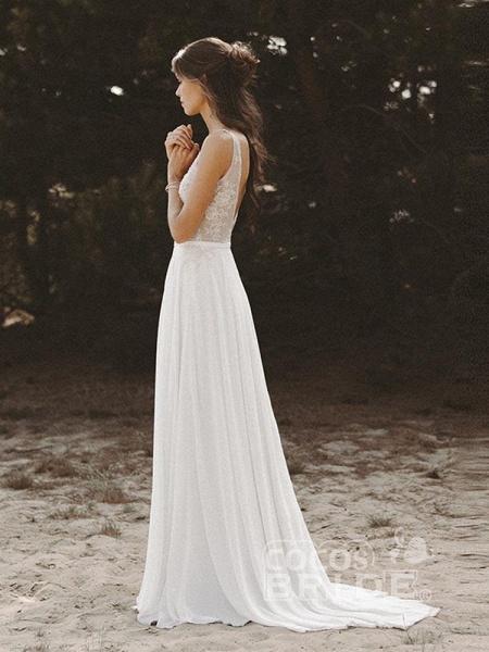V Neck Lace Boho Wedding Dresses_4