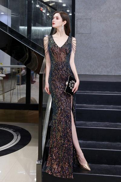V-Neck Sequins Long Evening Dress With Split_8