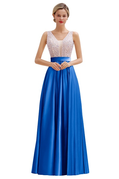 Awesome Open Back Beading Satin A-line Prom Dress_2