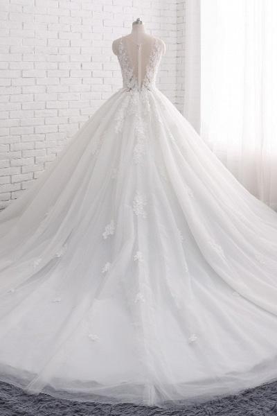 Elegant Long Princess Tulle Court Train Wedding Dress with Appliques Lace_2