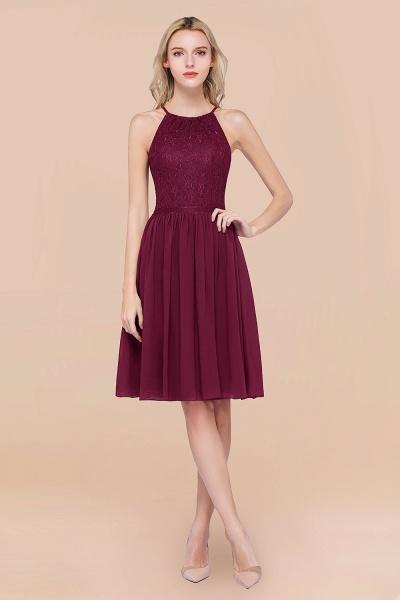 A-line Chiffon Lace Jewel Sleeveless Knee-Length Bridesmaid Dresses with Ruffles_44