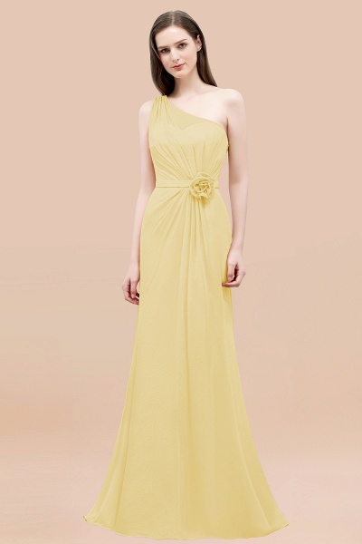 Mermaid Chiffon One-shoulder Sleeveless Ruffled Floor-Length Bridesmaid Dresses with Flower_18