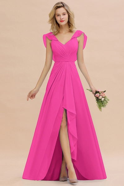 BM0777 Simple Hi-Lo V-Neck Ruffles Long Bridesmaid Dress_9