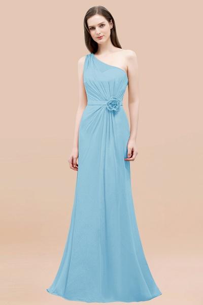 Mermaid Chiffon One-shoulder Sleeveless Ruffled Floor-Length Bridesmaid Dresses with Flower_23