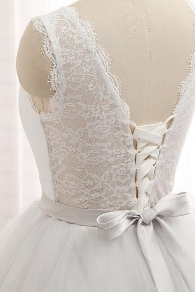 Affordable Long Princess Jewel Tulle Lace Wedding Dress_5