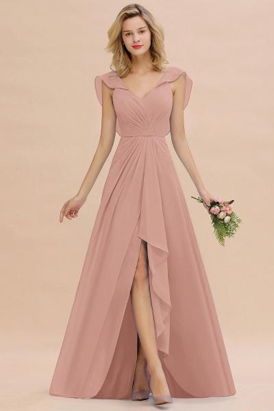 BM0777 Simple Hi-Lo V-Neck Ruffles Long Bridesmaid Dress_6