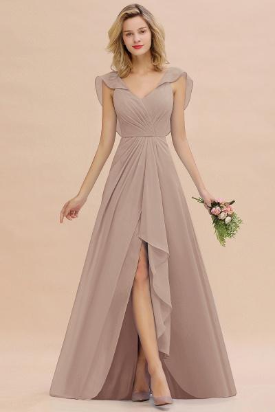 BM0777 Simple Hi-Lo V-Neck Ruffles Long Bridesmaid Dress_16