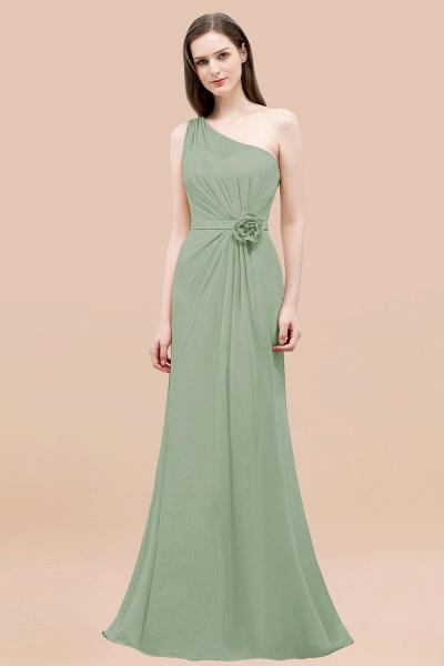 Mermaid Chiffon One-shoulder Sleeveless Ruffled Floor-Length Bridesmaid Dresses with Flower_41