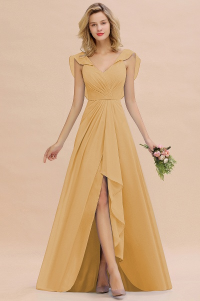 BM0777 Simple Hi-Lo V-Neck Ruffles Long Bridesmaid Dress_13