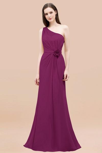 Mermaid Chiffon One-shoulder Sleeveless Ruffled Floor-Length Bridesmaid Dresses with Flower_42