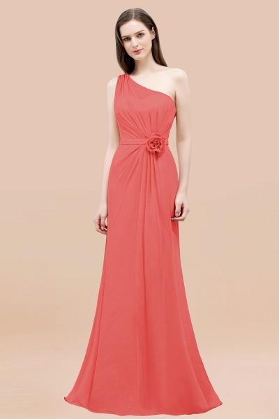 Mermaid Chiffon One-shoulder Sleeveless Ruffled Floor-Length Bridesmaid Dresses with Flower_7