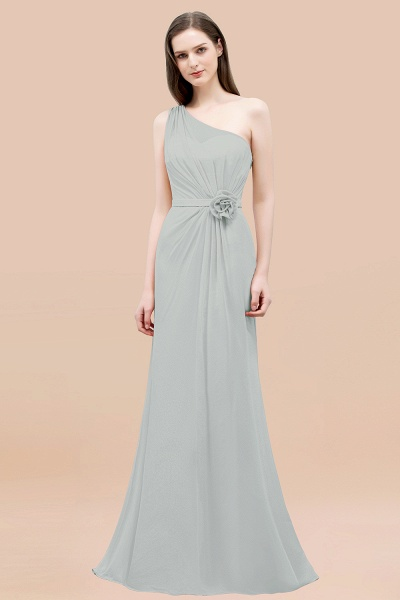 Mermaid Chiffon One-shoulder Sleeveless Ruffled Floor-Length Bridesmaid Dresses with Flower_38