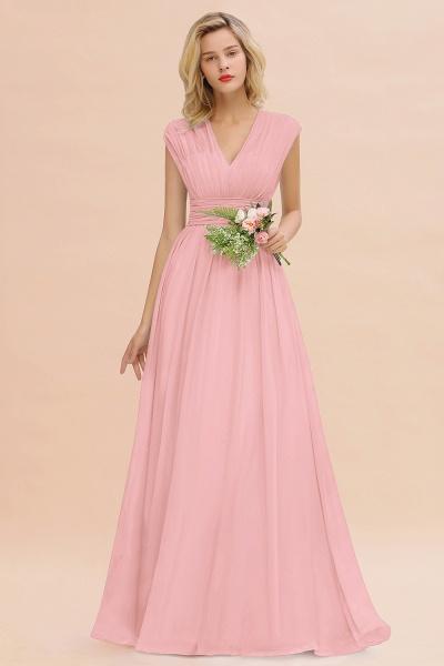 BM0774 Chiffon V-Neck Sleeveless Elegant A-line Ruffles Bridesmaid Dress_4