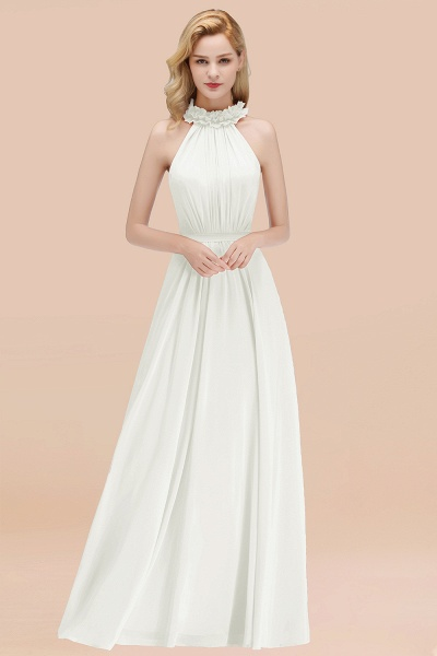 A-line Chiffon Halter Sleeveless Ruffled Floor Length Bridesmaid Dresses_2
