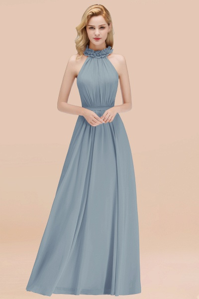 A-line Chiffon Halter Sleeveless Ruffled Floor Length Bridesmaid Dresses_40