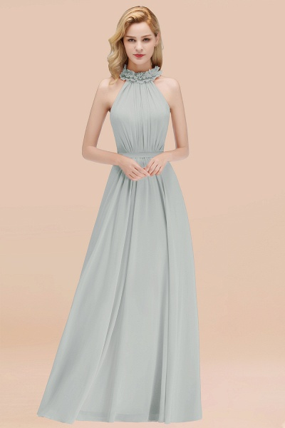 A-line Chiffon Halter Sleeveless Ruffled Floor Length Bridesmaid Dresses_38