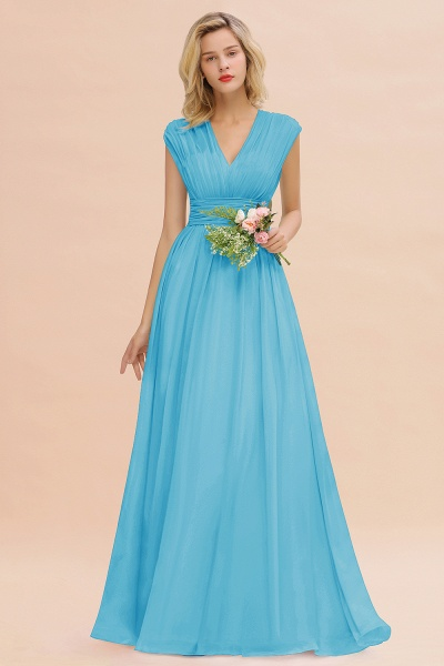 BM0774 Chiffon V-Neck Sleeveless Elegant A-line Ruffles Bridesmaid Dress_24